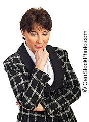 Sad mature business woman