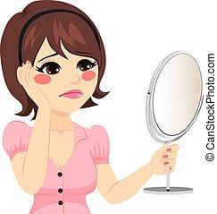 Sad Mirror Woman