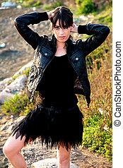 Sad model with black skirt
