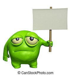 sad monster holding placard