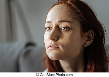 Sad moody woman suffering from depression