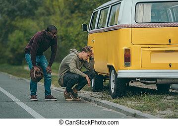 multiethnic men near broken minivan - sad multiethnic men ...