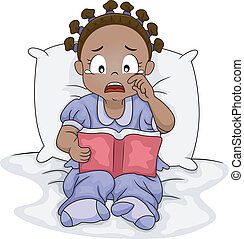 Sad Novel - Illustration of a Little Black Girl Crying Over...