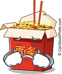 Sad of chinese box noodle cartoon mascot style