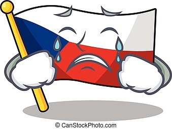 Sad of flag czechia cartoon mascot style. Vector illustration