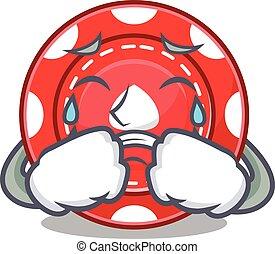 Sad of gambling chips cartoon mascot style