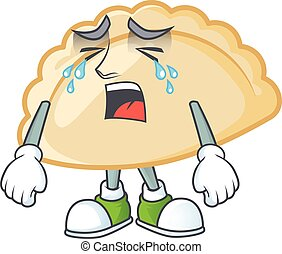 Sad of pierogi cartoon mascot design style. Vector illustration