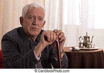 Sad old businessman - Portrait of sad old businessman...