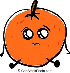 Sad orange, illustration, vector on white background.