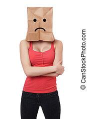 sad paper bag woman