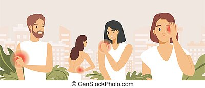 Sad people suffering from pain in different body parts vector flat illustration. Body aches, people feeling pain.