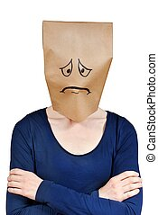 sad person - a very sad looking person with paper bag on its...