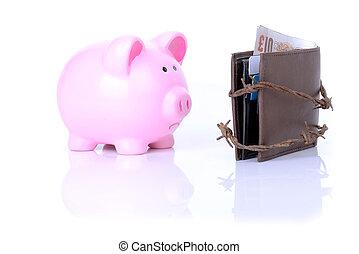 sad pig no money