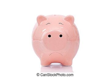 Sad piggy bank isolated on white background