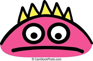 Sad pink monster head