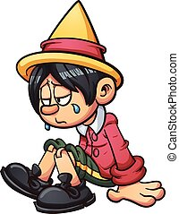Sad Pinocchio - Sad Pinocchio crying. Vector clip art...