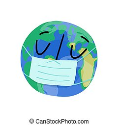 Sad planet Earth character in face medical mask. Covid-19 global pandemic concept. Vector illustration.