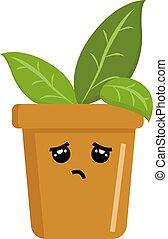 Sad plant, illustration, vector on white background.