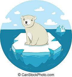 Sad polar bear sitting on ice floe