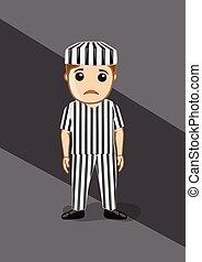 Sad Prisoner in Prisoner Dress