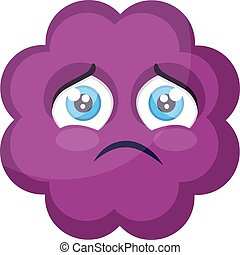 Sad purple cloud emoji face vector illustration on a white background