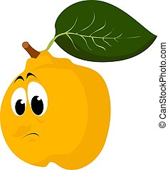 Sad quince, illustration, vector on white background.