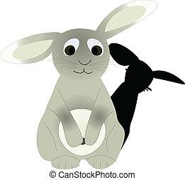 sad rabbit - vector illustration rabbit