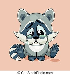 Sad Raccoon cub crying - Vector Stock Illustration isolated...