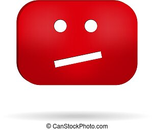 Sad red face vector illustration