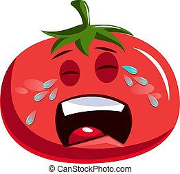 Sad red tomato crying illustration vector on white background