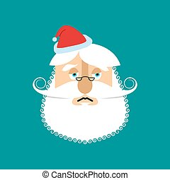 Sad Santa Claus Emoji. sorrowful Santa. grandfather with beard and mustache isolated. Christmas avatars