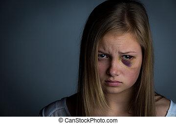 Sad scared girl - Sad and intimidated girl with heavy...