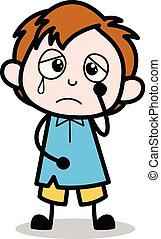 Sad - School Boy Cartoon Character Vector Illustration