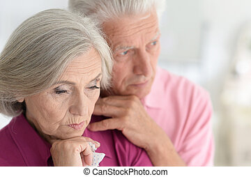 Image of: Man Sad Senior Couple At Home Hugging Can Stock Photo Relationships Old Age And People Concept Sad Senior Couple