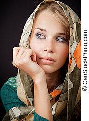Sad sensual melancholic woman with vail on head