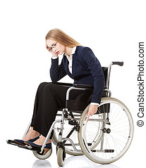 Sad, serious business woman sitting on wheelchair.