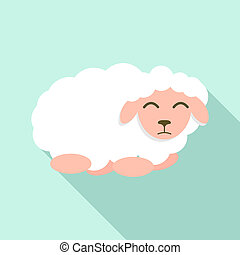 Sad sheep icon, flat style