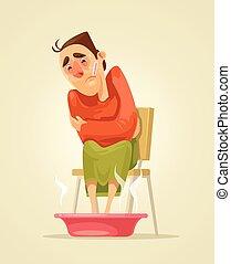 Sad sick man character warms his feet. Vector flat cartoon illustration