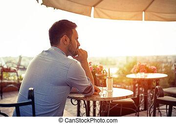 Sad single man waiting for his date - Sad single romantic...