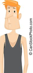 Fitness Illustration Featuring a Sad Skinny Man in a Black Tank Top Disappointed Over His Inability to Gain Weight