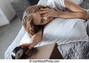 Sad sleepy woman trying to wake up - In the morning. Sad...