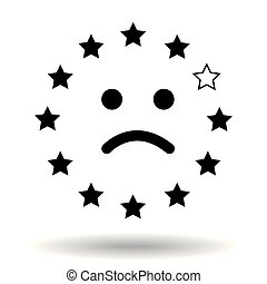 Sad smiley face, made of the European Union flag. Representation of a unhappy face from eu stars with one missing star representing Great Britain. Symple black icon brexit symbol concept. Illustration. Eps10 Vector