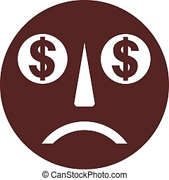 Sad smiley face with dollar sign eyes vector image