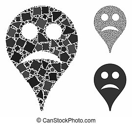 Sad smiley map marker Mosaic Icon of Trembly Parts