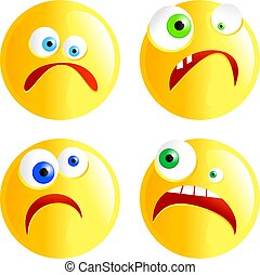 sad smilies - set of funny faced cartoon sad smilie...