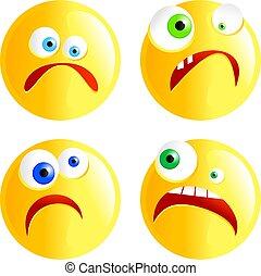 set of funny faced cartoon sad smilie emoticons