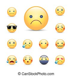 Sad, sorry cartoon vector emoji face set. Unhappy, crying, angry, depresserd smileys. Ninja, in sunglasses and over emoticons.