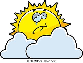 A cartoon sun looking sad behind some clouds.