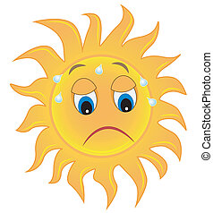 sad sun is exhausted from a heat, vector illustration