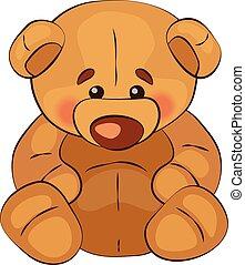 Sad teddy bear sits on a white background, vector